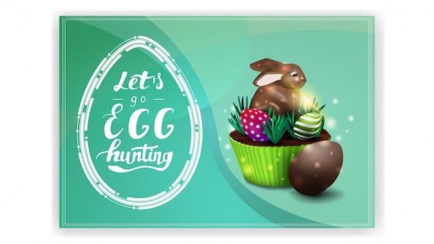 Chodźmy na polowanie na jajka, fioletowy szablon pocztówki