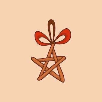 Choinka drewniana gwiazda symbol media społecznościowe post świąteczna dekoracja ilustracja wektorowa