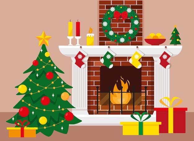 Choinka i kominek z wieńcem, świecami, dekoracją i prezentami w pudełkach. ilustracja na boże narodzenie i nowy rok.