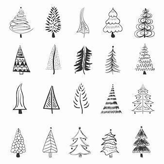 Choinka ikona pędzla ręcznie rysowane obrysu atrament projekt doodle atrament na nowy rok świąteczna dekoracja
