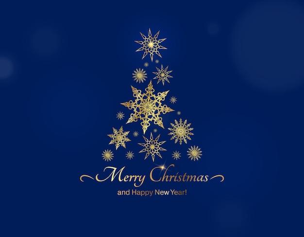 Choinka na niebieskim tle kartka świąteczna wektor