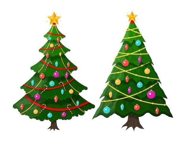 Choinka ozdobiona kolorowymi kulkami, światełkami girlandami, złotą gwiazdą. świerk, wiecznie zielone drzewo. kartka z życzeniami, uroczysty plakat, zaproszenia na przyjęcia. nowy rok.
