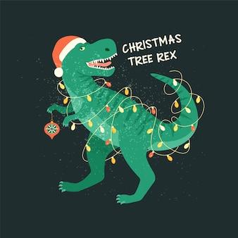 Choinka t-rex z lampkami girlandowymi.