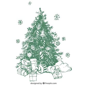 Choinka tło z ręcznie rysowane prezenty