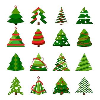 Choinka w różnych stylach. zestaw stylizowanej ilustracji. kolekcja choinek na święta bożego narodzenia i nowy rok