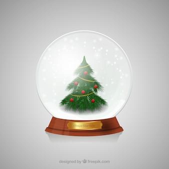 Choinka wewnątrz christmas kryształowej kuli