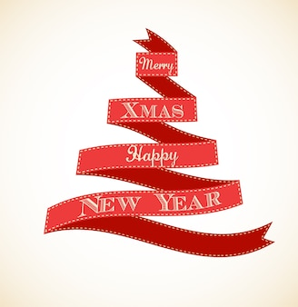 Choinka wykonana z czerwonej wstążki - szablon karty z pozdrowieniami wesołych świąt i szczęśliwego nowego roku.