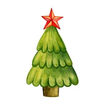 Choinka z czerwoną gwiazdą akwarelową ilustracją