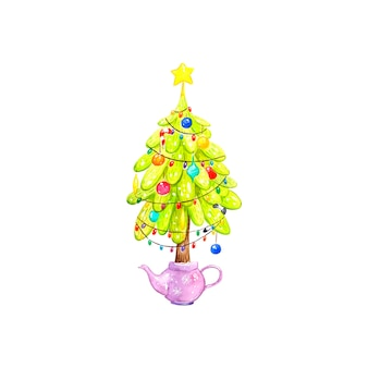 Choinka z dekoracją, akwarelą, zabawkami na choinkę