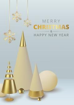Choinka z metalicznego złota. realistyczne abstrakcyjne tło z. kartkę z życzeniami, zaproszenie z szczęśliwego nowego roku i święta