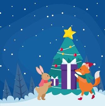 Choinka z ślicznymi zwierzętami z prezentów pudełkami wokoło nad zimy nocą, kolorową, ilustracja