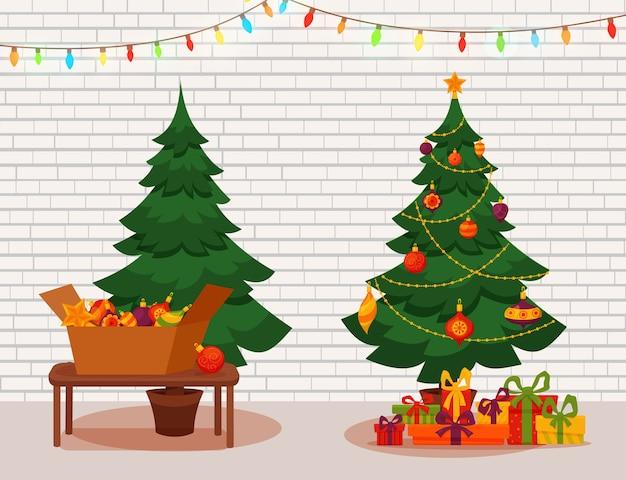 Choinka ze światłami i prezentami