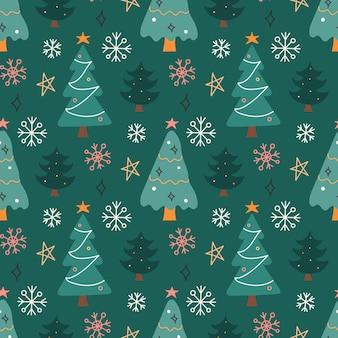Choinki i płatki śniegu na zielonym tle, wektor wzór w stylu płaski