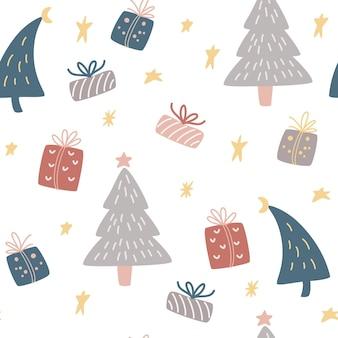 Choinki i prezenty wzór pola. zimowe tło, tapety dla dzieci do tkanin, tekstyliów, ubrań, papieru, scrapbookingu, planisty. nowy rok i boże narodzenie tradycyjny symbol.