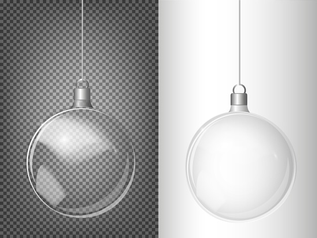 Choinki jodła wektor i realistyczne przezroczyste srebrne bombki