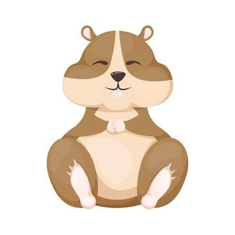 Chomik kreskówka ładny charakter zwierząt gryzoni ilustracji wektorowych. zabawny mały ssak domowy. mała brązowa myszka uroczy puszysty chomik.