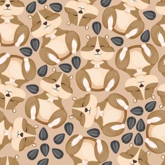 Chomik śmieszne małe zwierzę zjada nasiona słonecznika wzór