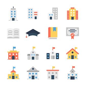 Chool building flat icons pack