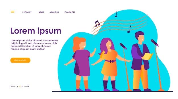 Chór dziecięcy śpiewający piosenkę w płaskiej ilustracji kościoła.