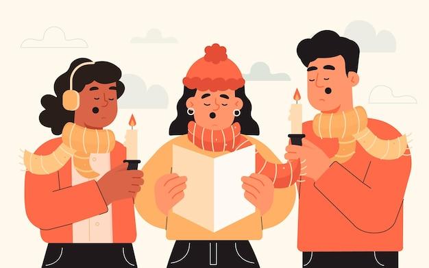Chór ludzi śpiewających kolędę
