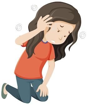 Chora kobieta ma zawroty głowy