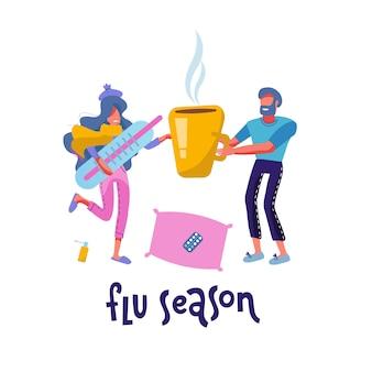 Chora kobieta osoba mająca grypę lub przeziębienie. chora kobieta owinięta w ciepły szalik z dużym termometrem. mężczyzna, podając jej gorący napój w ogromny kubek. pojęcie opieki rodzinnej. ilustracja kreskówka nowoczesny kreskówka