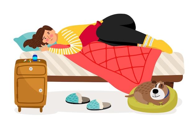 Chora kobieta w łóżku. ból menstruacyjny, kobieta koncepcja wektor zdrowie