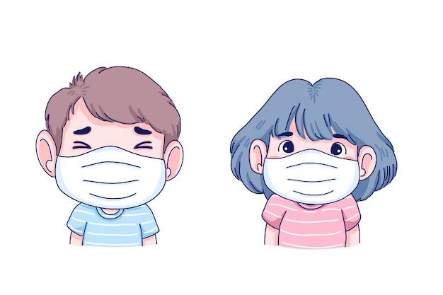 Chore dzieci noszą maskę