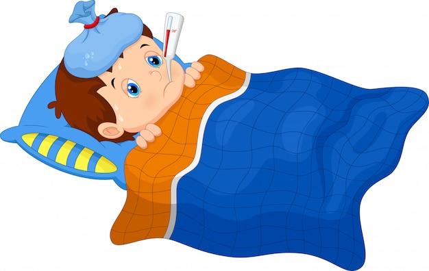Chore dziecko leżące w łóżku