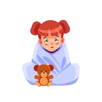 Chore dziecko z sezonowymi infekcjami, grypą, alergią leżące w łóżku. chora dziewczyna przykryta kocem leżącym w łóżku z wysoką gorączką i grypą, odpoczywa. koronawirus. kwarantanna. ilustracja kreskówka.