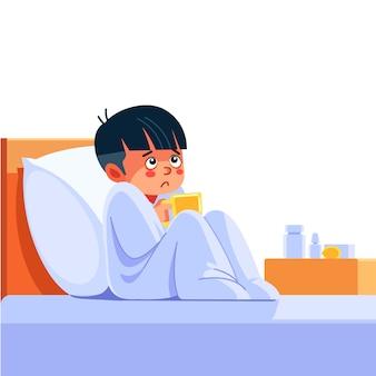 Chore dziecko z sezonowymi infekcjami, grypą, alergią leżące w łóżku. chory chłopiec przykryty kocem leżącym w łóżku z wysoką gorączką i grypą, odpoczywa. koronawirus. kwarantanna. ilustracja kreskówka.