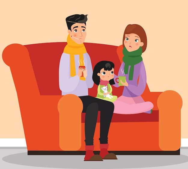 Chore znaki rodzinne matka, ojciec i córka siedzi na kanapie chorzy ludzie w stylu płaskiej kreskówki