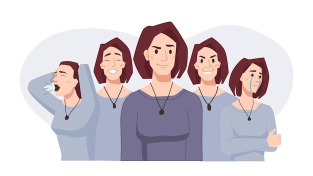 Choroba afektywna dwubiegunowa wahania nastroju kobiety wyraz twarzy w różnych nastrojach wektor kobieta szczęśliwa i