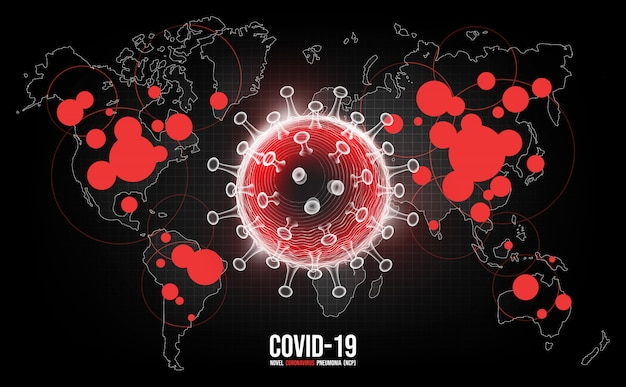 Choroba koronawirusowa zakażenie covid-19 medyczne. nowa oficjalna nazwa choroby coronavirus o nazwie covid-19, ryzyko pandemii na tle mapy świata, ilustracja