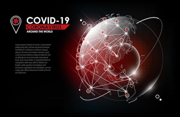 Choroba koronawirusowa zakażenie covid-19 medyczne z hologramem kuli ziemskiej i mapą pinów. nowa oficjalna nazwa choroby koronawirusowej o nazwie covid-19, wybuch pandemii na całym świecie, ilustracja