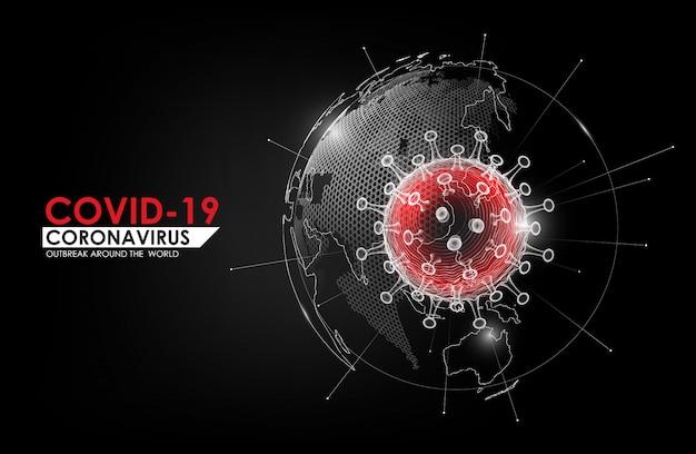 Choroba koronawirusowa zakażenie covid-19 medyczne z hologramem kuli ziemskiej. nowa oficjalna nazwa choroby koronawirusowej o nazwie covid-19, wybuch pandemii na całym świecie, ilustracja