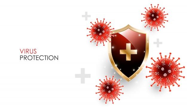 Choroba koronawirusowa zakażenie covid-19 medyczne z tarczą. oficjalna nazwa choroby koronawirusowej o nazwie covid-19, koncepcja ochrony immunologicznej koronawirusa