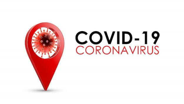 Choroba koronawirusowa zakażenie covid-19 medyczne z typografią i lokalizacją pinezki. nowa oficjalna nazwa choroby koronawirusowej o nazwie covid-19, ilustracja tła ryzyka pandemii