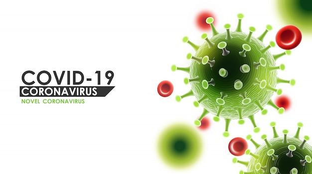 Choroba koronawirusowa zakażenie covid-19 medyczne z typografią i miejscem kopiowania. nowa oficjalna nazwa choroby koronawirusowej o nazwie covid-19, ilustracja tła ryzyka pandemii