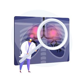 Choroba układu oddechowego, problem medyczny. rak płuc, astma oskrzelowa, diagnostyka zapalenia płuc. rtg klatki piersiowej ze stanami zapalnymi. element projektu radiologii. ilustracja wektorowa na białym tle koncepcja metafora