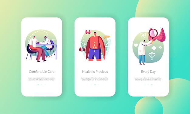 Choroby hormonalne opieka zdrowotna szablony ekranu aplikacji mobilnej kontroli medycznej.