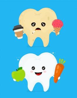 Chory brudny niezdrowy ząb z kawą, lodami, dymem papierosowym i zdrowym zębem.