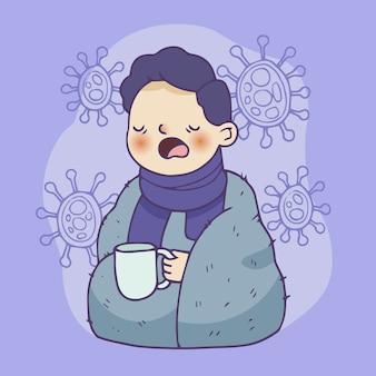 Chory chłopiec trzyma filiżankę herbaty