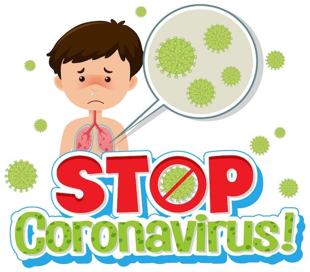 Chory chłopiec z koronawirusem