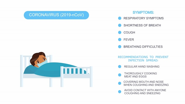 Chory chłopiec z medyczną maską w łóżku szpitalnym. infografika lista zaleceń dotyczących ochrony przed koronawirusem, objawy koronawirusa. wektorowa ilustracja na białym tle.
