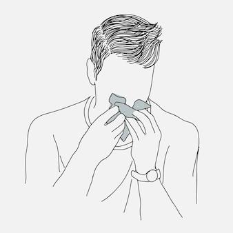 Chory człowiek kichający w bibułkę