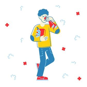 Chory człowiek kichanie ilustracja
