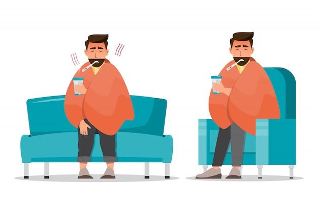 Chory człowiek mający zimno siedzieć w pokoju