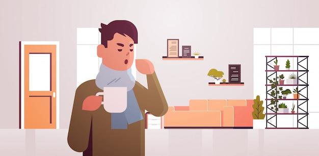 Chory człowiek o kichnięcie picie gorącej herbaty ilustracja