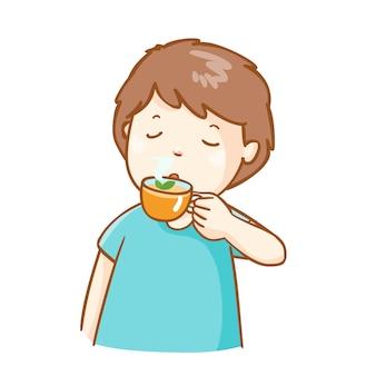 Chory człowiek pije herbatę ziołową